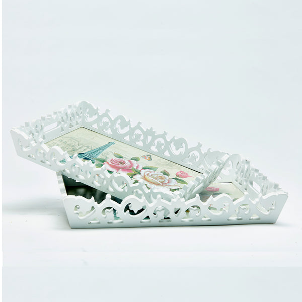 Wooden Floral Design Tray