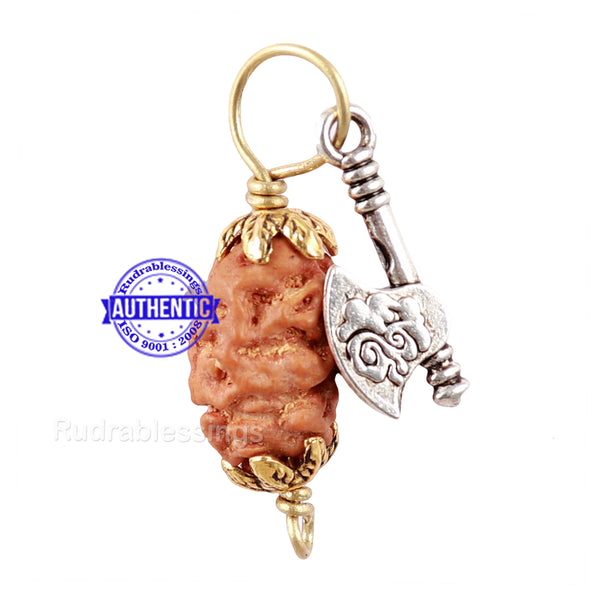 2 Mukhi Indonesian Rudraksha with Lucky Charm Axe Pendant