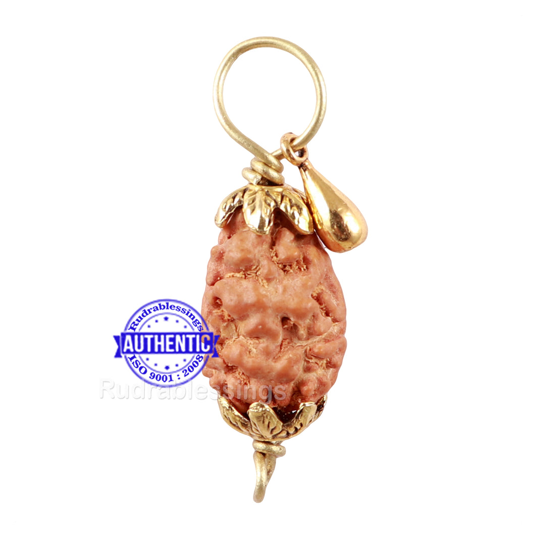 2 Mukhi Indonesian Rudraksha with Lucky Charm Gada Pendant