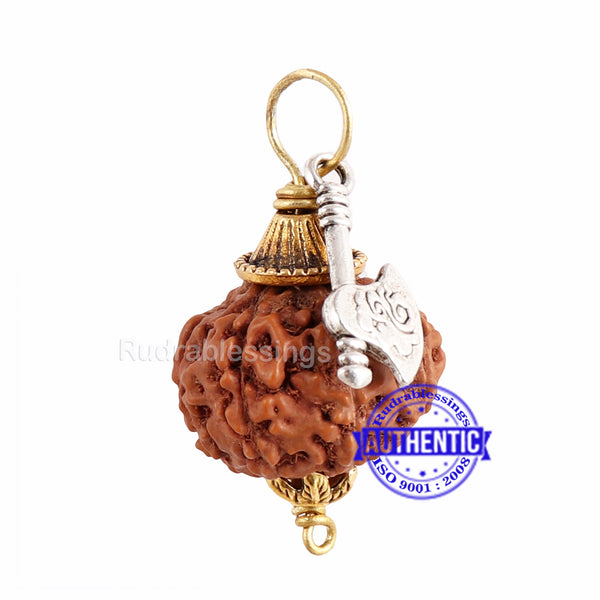 9 Mukhi Rudraksha from Indonesia - Bead No. 200 (with axe accessory)