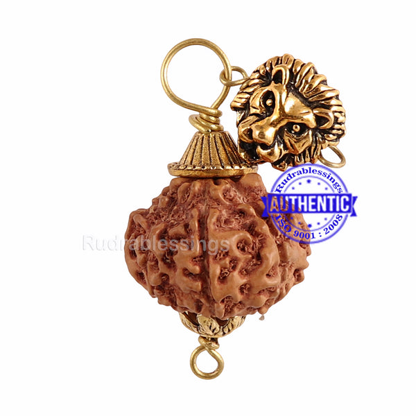 9 Mukhi Rudraksha from Indonesia - Bead No. 201 (with Lion accessory)