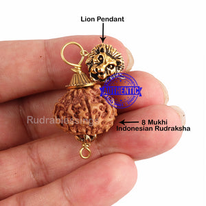 8 Mukhi Rudraksha from Indonesia - Bead No. 189 (with Lion accessory)