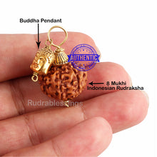 Load image into Gallery viewer, 8 Mukhi Rudraksha from Indonesia - Bead No. 191 (with buddha accessory)