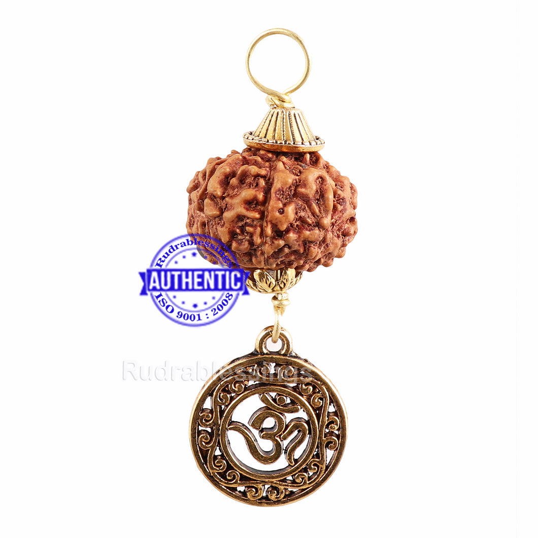 9 Mukhi Rudraksha from Indonesia - Bead No. 204 (with Om pendant)