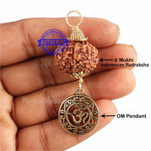 Load image into Gallery viewer, 8 Mukhi Rudraksha from Indonesia - Bead No. 192 (with Om pendant)