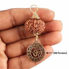 Load image into Gallery viewer, 7 Mukhi Rudraksha from Indonesia - Bead No. 14 (with Om pendant)