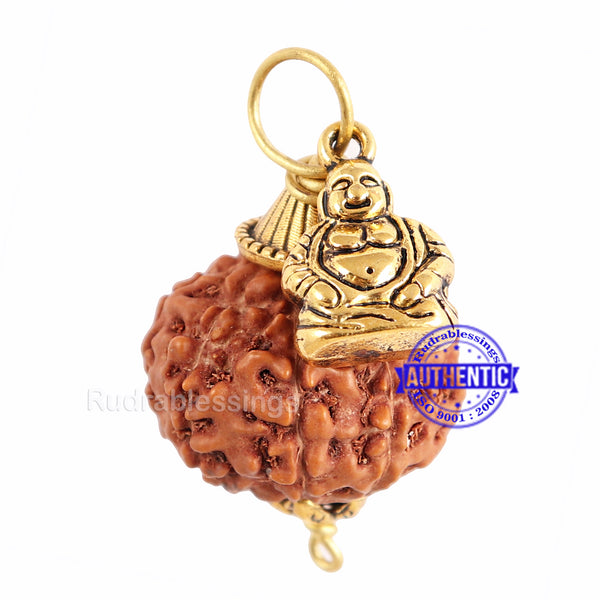 9 Mukhi Rudraksha from Indonesia - Bead No. 191 (With Laughing Buddha Accessory)