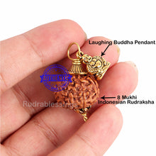 Load image into Gallery viewer, 8 Mukhi Rudraksha from Indonesia - Bead No. 179 (with laughing buddha accessory)