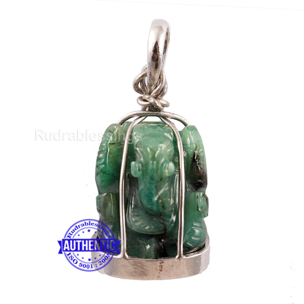 Emerald Ganesha Carving In Silver Pendant - 39