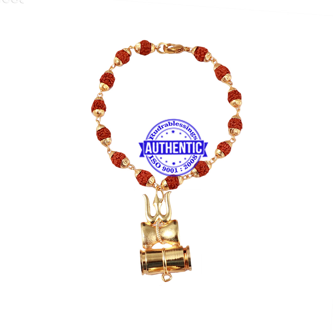 5 Mukhi Rudraksha Bracelet in gold plated caps with Trishul and Damru Pendant
