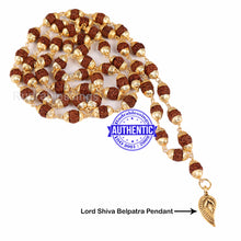 Load image into Gallery viewer, 5 Mukhi Rudraksha Mala in gold plated caps with Belpatra Pendant