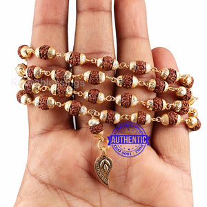 5 Mukhi Rudraksha Mala in gold plated caps with Belpatra Pendant
