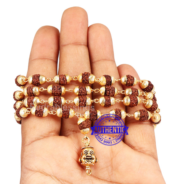 5 Mukhi Rudraksha Mala in gold plated caps with lucky charm Laughing Buddha
