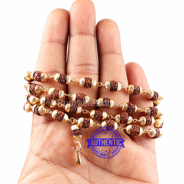 5 Mukhi Rudraksha Mala in gold plated caps with Lord Hanuman Gada