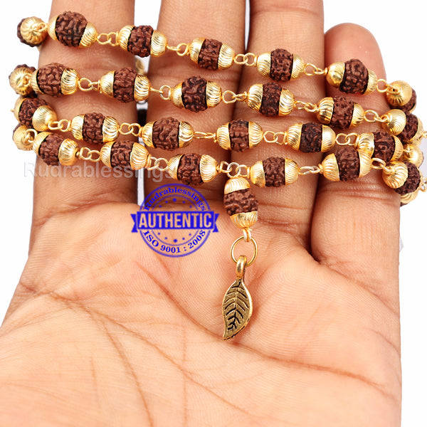 5 Mukhi Rudraksha Mala in gold plated caps with Leaf Pendant