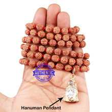 Load image into Gallery viewer, 5 mukhi Rudraksha mala with Lord Hanuman Pendant