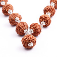 Load image into Gallery viewer, 10 Mukhi Indonesian Rudraksha Mala - 32+1 (Pure Silver)