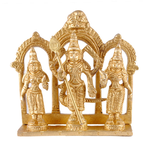 Lord Kartikeya (Murugan) with wives Valli and Devasena