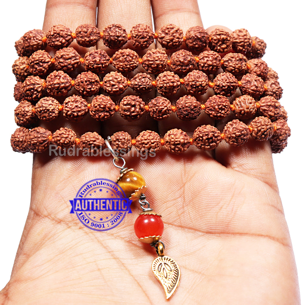 5 Mukhi Exclusive designs Rudraksha Mala with semi precious stones and accessory - 1