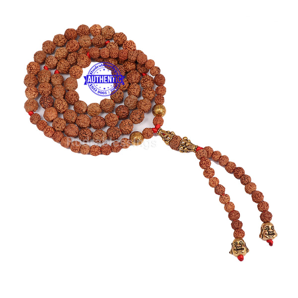 5 Mukhi Exclusive designer Rudraksha Mala with Laughing Buddha pendant