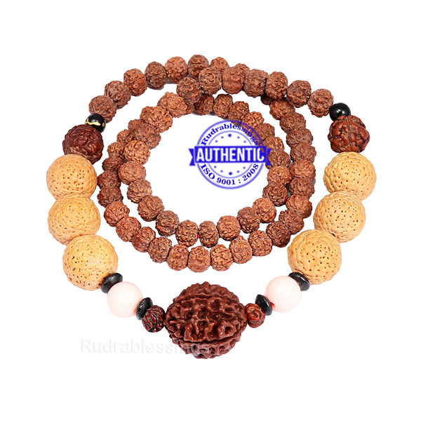 5 Mukhi Exclusive designer Rudraksha Mala with None Mukhi Rudraksha beads