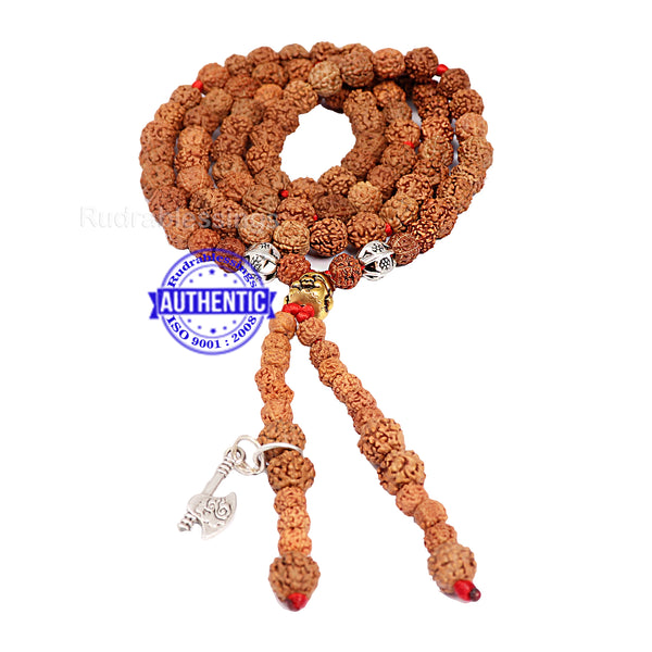 5 Mukhi Exclusive designer Rudraksha Mala with Laughing Buddha and Axe pendant