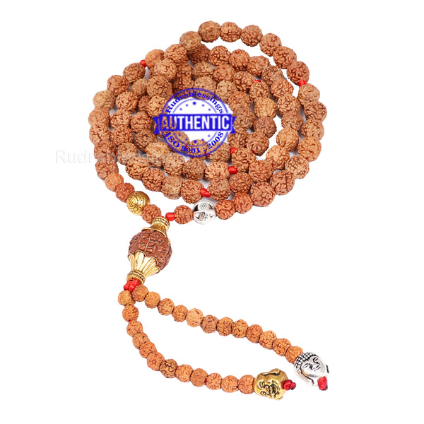 Exclusive Designer Rudraksha Mala with Lord Buddha and Laughing Buddha Pendant