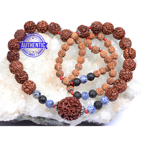 5 Mukhi Exclusive designer Rudraksha Mala with Lava and Sodalite stone beads