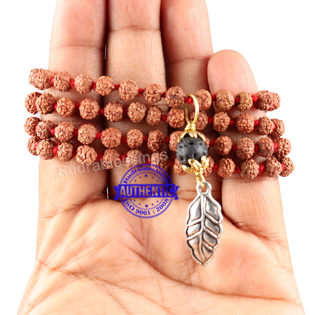 5 Mukhi Exclusive designs Rudraksha Mala with semi precious stones and accessory - 4