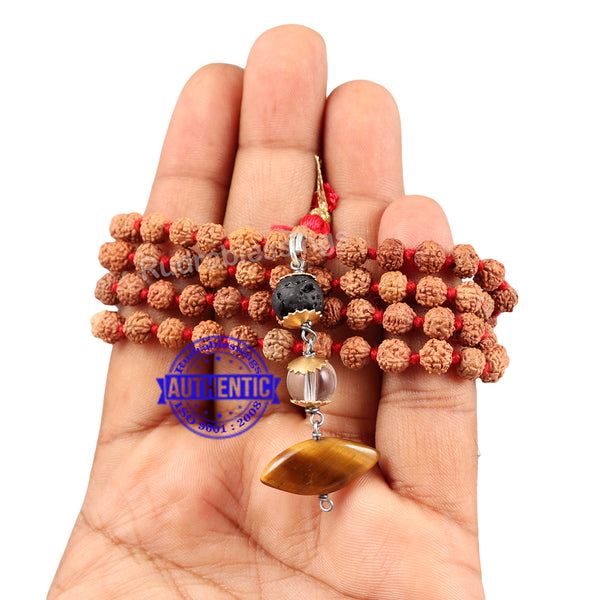 5 Mukhi Exclusive designs Rudraksha Mala with semi precious stones and accessory - 9