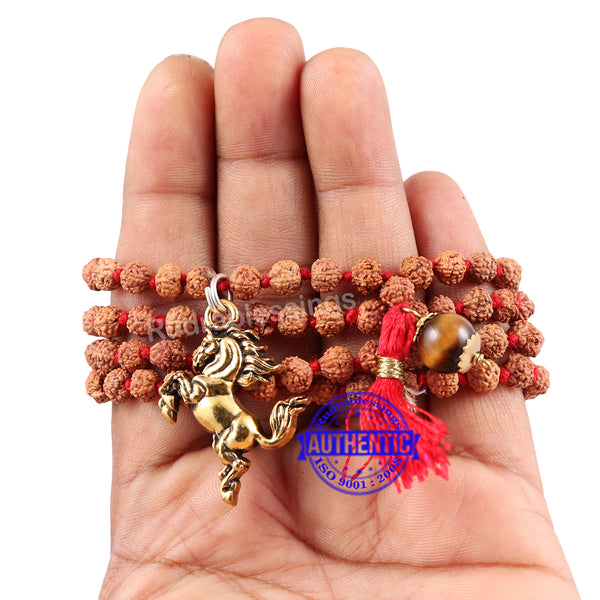 5 Mukhi Exclusive designs Rudraksha Mala with semi precious stones and accessory - 11