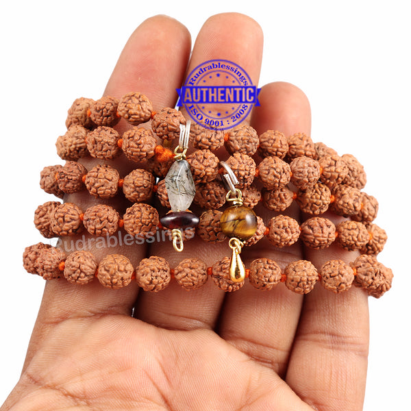 5 Mukhi Exclusive designs Rudraksha Mala with semi precious stones and accessory - 13