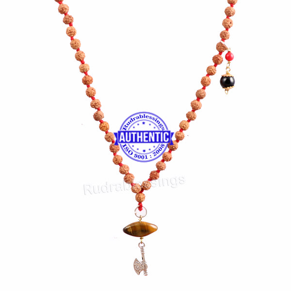 5 Mukhi Exclusive designs Rudraksha Mala with semi precious stones and accessory - 14