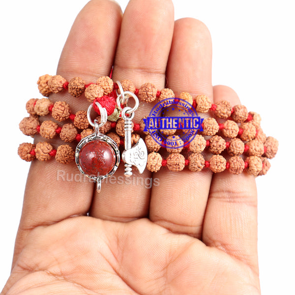 5 Mukhi Exclusive designs Rudraksha Mala with semi precious stones and accessory - 15
