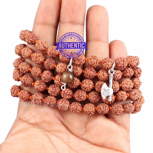 5 Mukhi Exclusive designs Rudraksha Mala with semi precious stones and accessory - 16