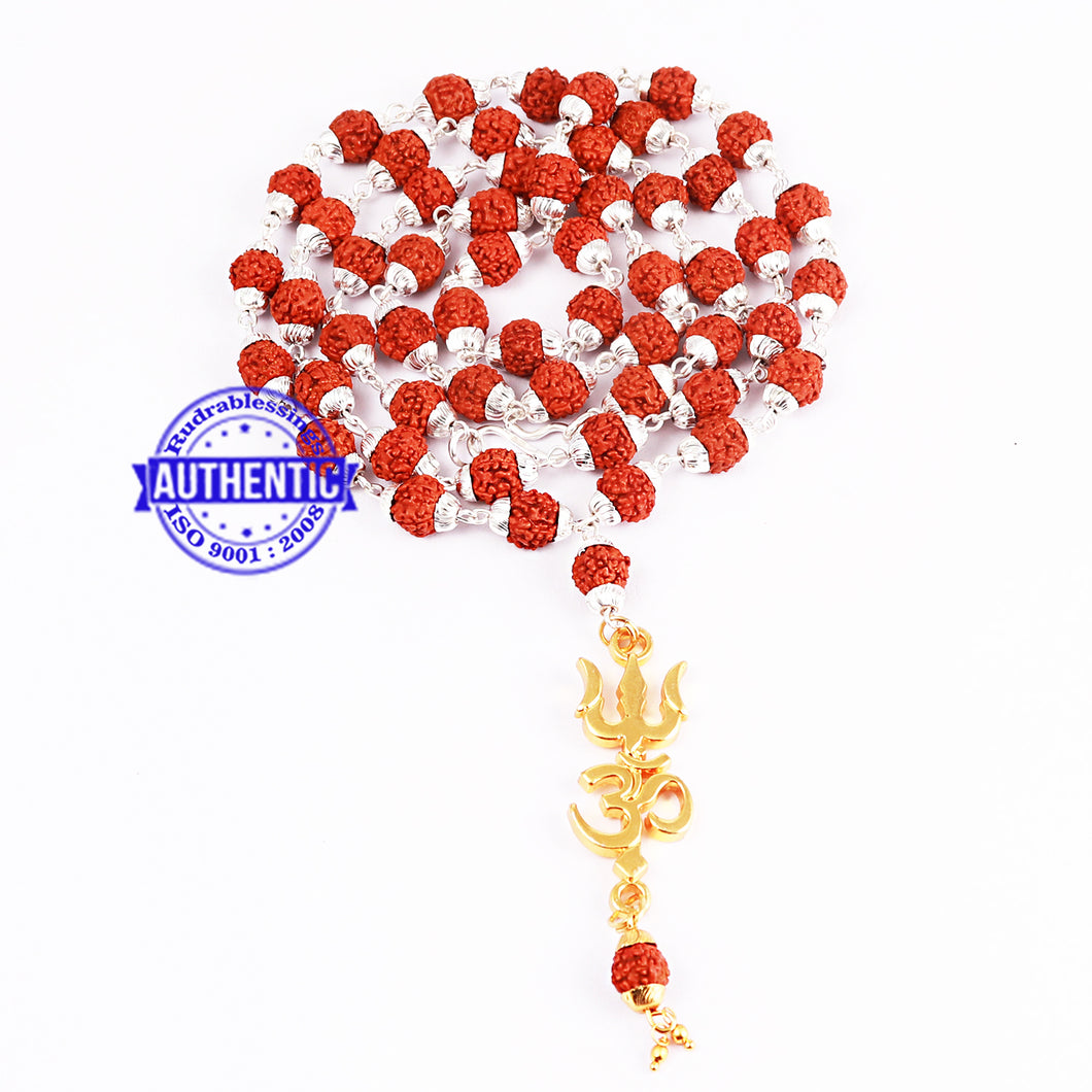 5 Mukhi Rudraksha Mala in silver plated caps with OM Pendant
