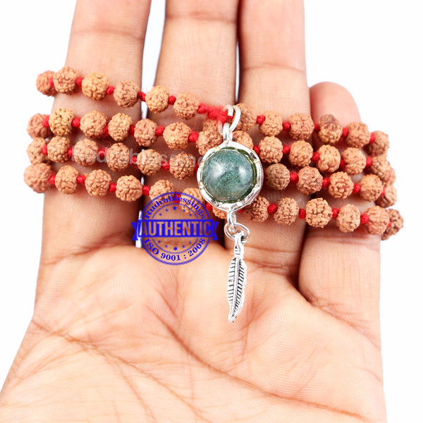 5 Mukhi Exclusive designs Rudraksha Mala with semi precious stones and accessory - 17
