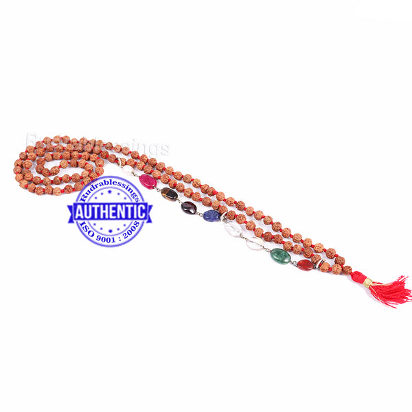 5 Mukhi Exclusive designs Rudraksha Mala with semi precious Navratna stones