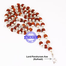 Load image into Gallery viewer, 5 Mukhi Rudraksha Mala in silver plated caps with Axe Pendant