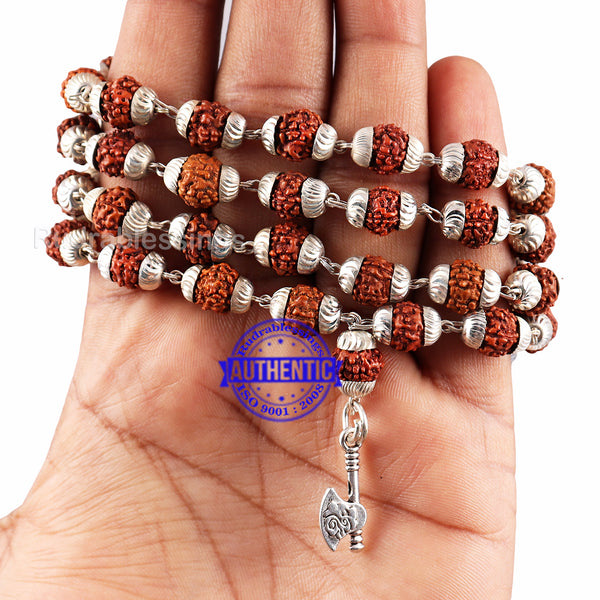 5 Mukhi Rudraksha Mala in silver plated caps with Axe Pendant
