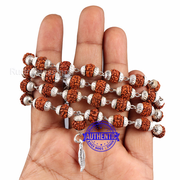 5 Mukhi Rudraksha Mala in silver plated caps with Feather Pendant