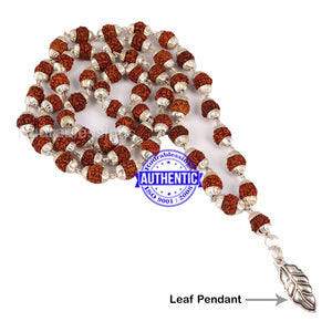 5 Mukhi Rudraksha Mala in silver plated caps with Leaf Pendant