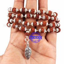 Load image into Gallery viewer, 5 Mukhi Rudraksha Mala in silver plated caps with Leaf Pendant