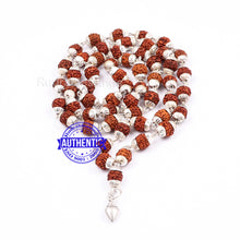 Load image into Gallery viewer, 5 Mukhi Rudraksha Mala in silver plated caps with Shankh Pendant