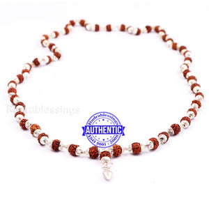 5 Mukhi Rudraksha Mala in silver plated caps with Shankh Pendant