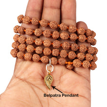 Load image into Gallery viewer, 5 mukhi Rudraksha mala with Lucky Charm Belpatra Pendant