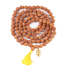 Load image into Gallery viewer, 5 mukhi Rudraksha mala with Lucky Charm Lord Buddha Pendant