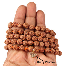 Load image into Gallery viewer, 5 mukhi Rudraksha mala with Lucky Charm Butterfly Pendant