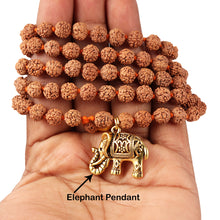 Load image into Gallery viewer, 5 mukhi Rudraksha mala with Lucky Charm Elephant Pendant - 1