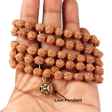 Load image into Gallery viewer, 5 mukhi Rudraksha mala with Lucky Charm Lion Pendant